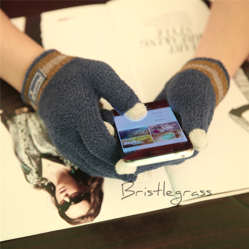 Men/'s Winter Soft Knitted Smart Touch Screen Gloves Mitten for Smartphone Tablet