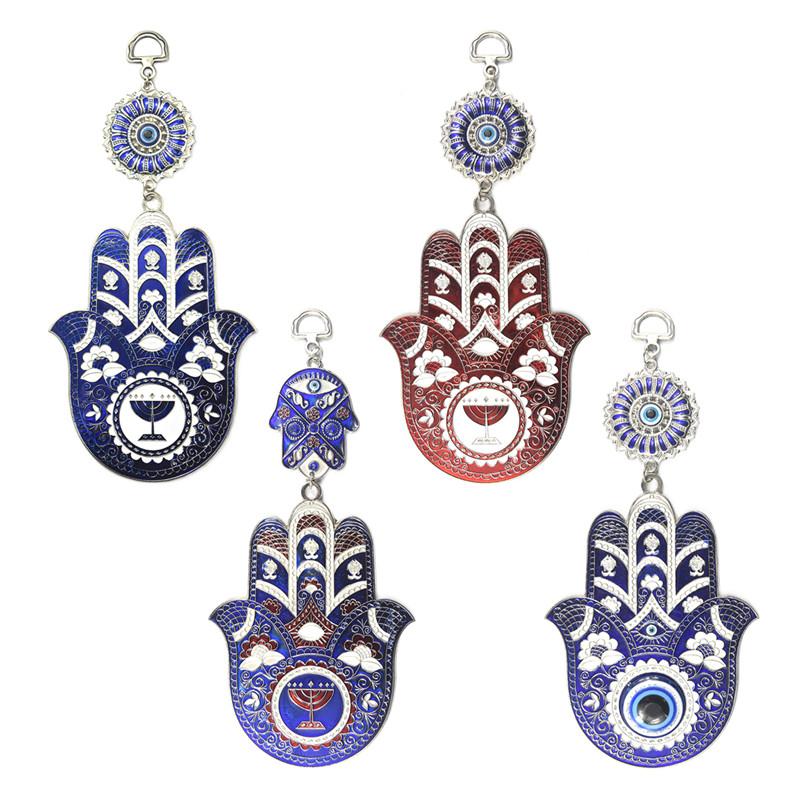Turkish Blue Evil Eye Flower Hamsa Hand Amulet Wall Hanging Decor Protection