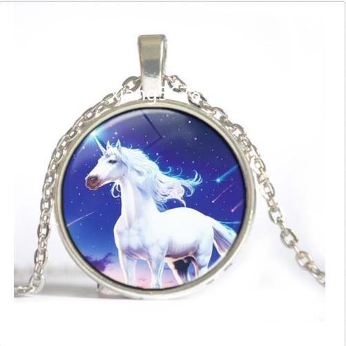 Unicorn Horse Art Cabochon Glass Tile Chain Pendant Necklace Tibet Silver Child