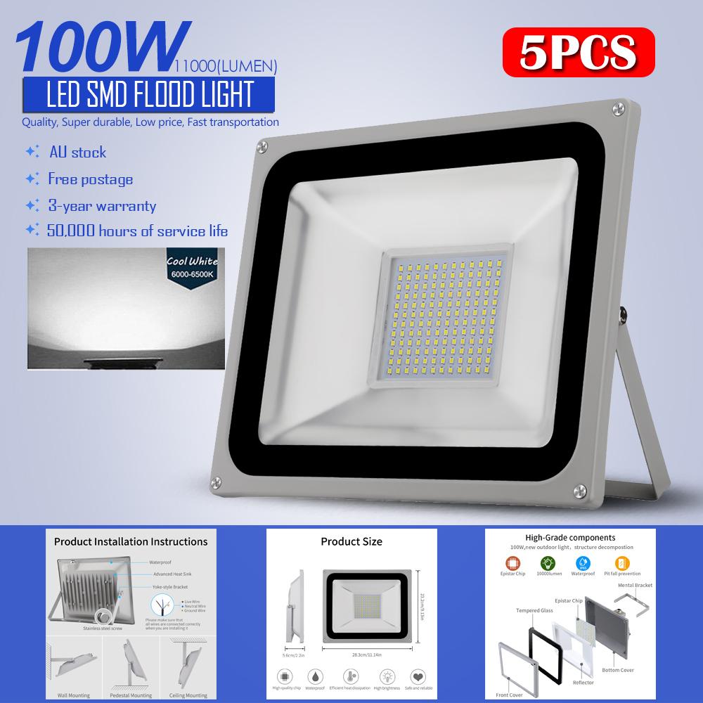 Led Flood Light Keeps Flickering: 5Pcs 100W LED Flood Light 2835SMD Cool White Outdoor Safe