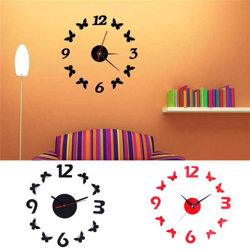 Modern removable acrylic wall clock sticker 3d mirror for 3d acrylic mirror wall sticker clock decoration decor