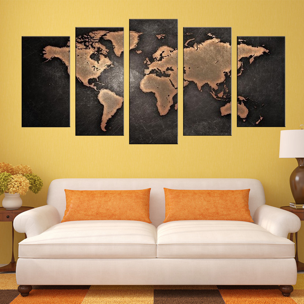 5 Pieces Modern Canvas Painting Wall Art Home Decoration Map Of The ...