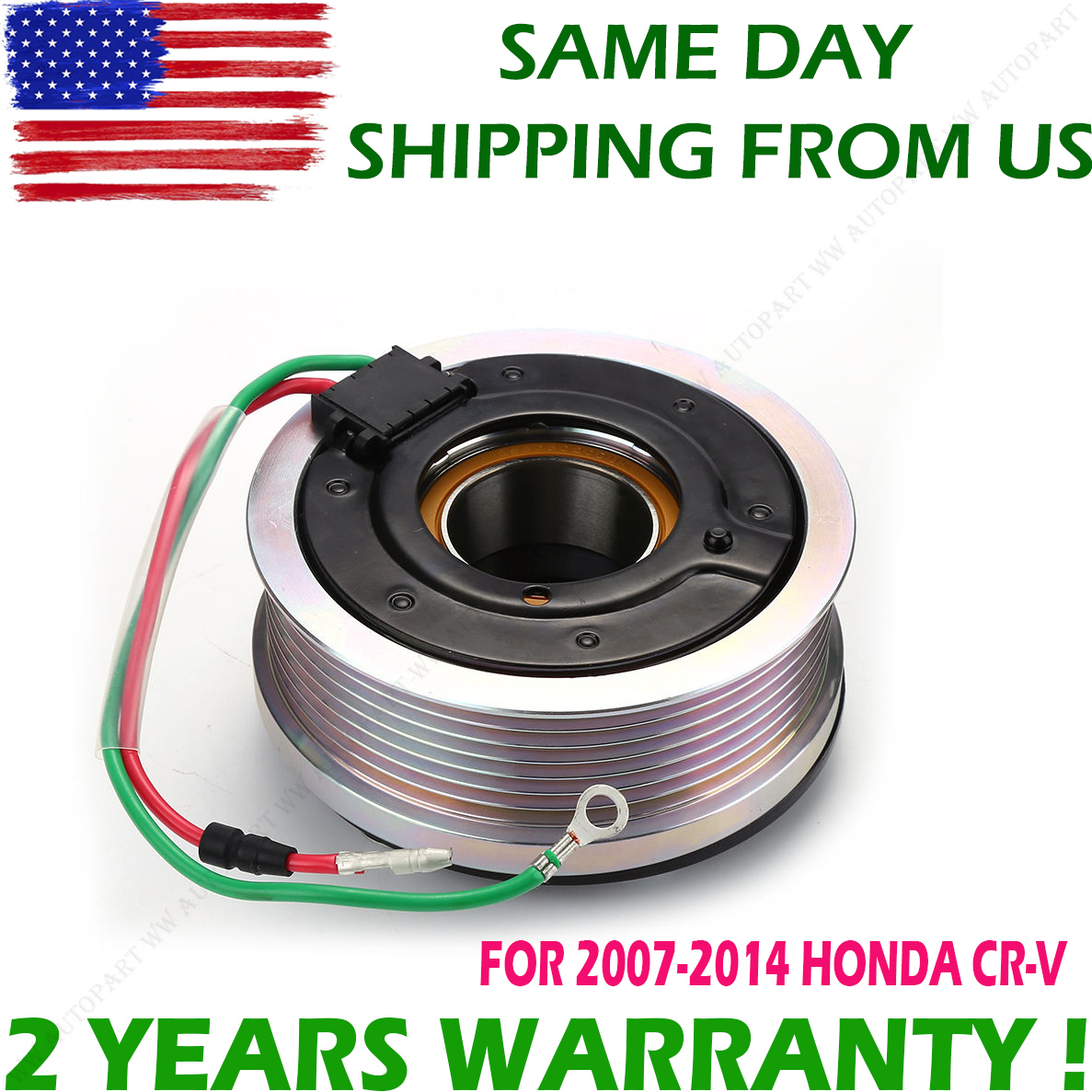 For HONDA CR-V CRV 07-14 Air A//C Compressor Clutch Pulley Bearing Coil Plate Kit