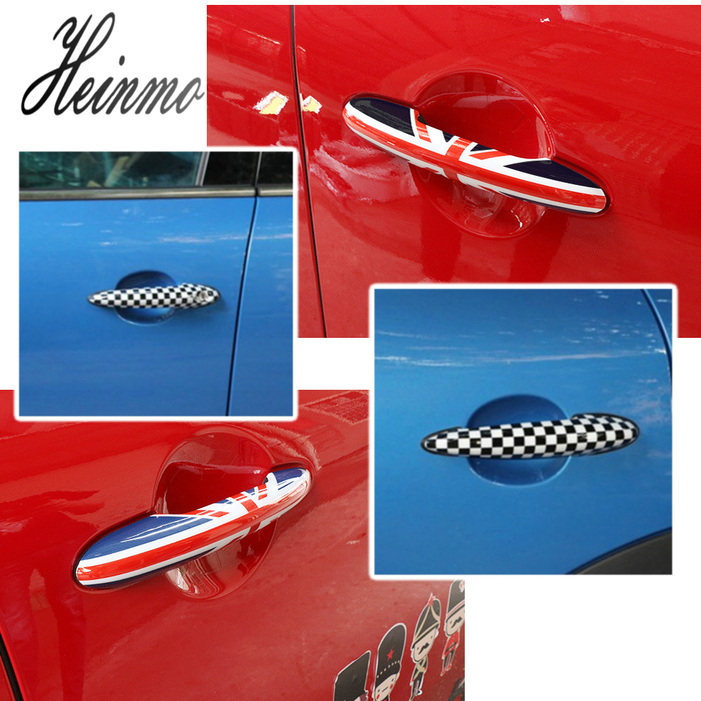 Union Jack UK Flag Checkered Door Handle Cover Fit For Mini Cooper R50 R52 R53