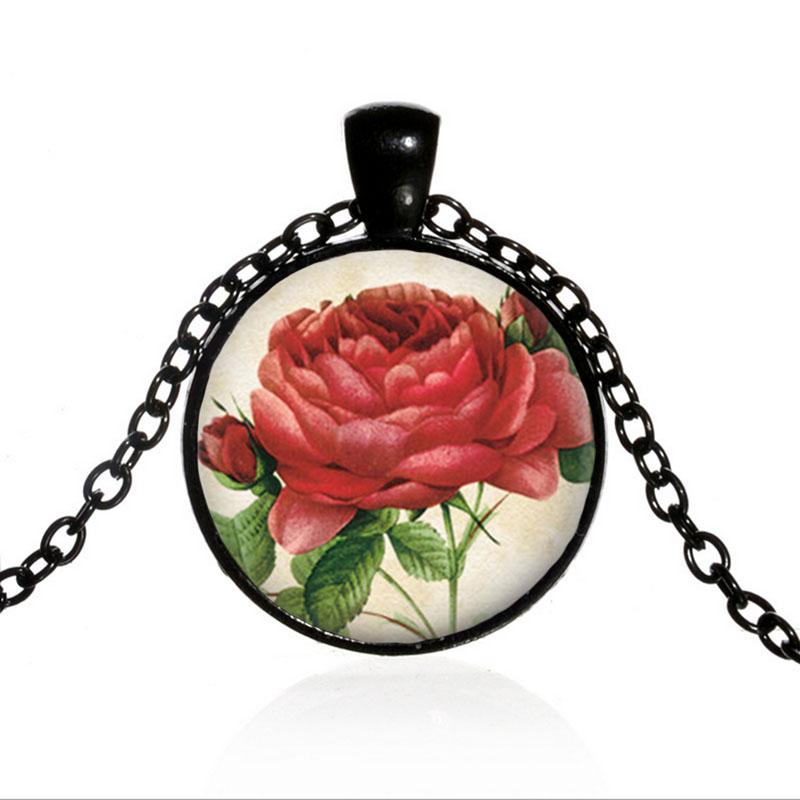 Vintage Chou Rouge Rose Noir Dôme Photo en Verre Art Chaîne Collier Pendentif
