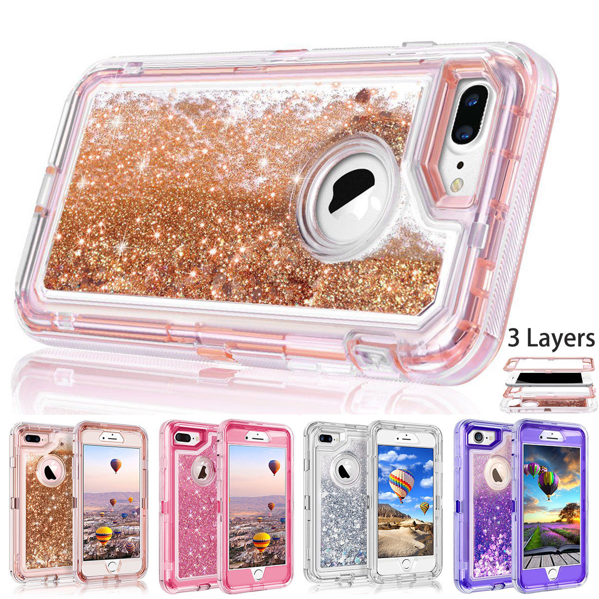 Details about For iPhone XR 8 7 6S Plus XS Max X Glitter Liquid Defender  Heavy Quicksand Case 5851a2299e6c