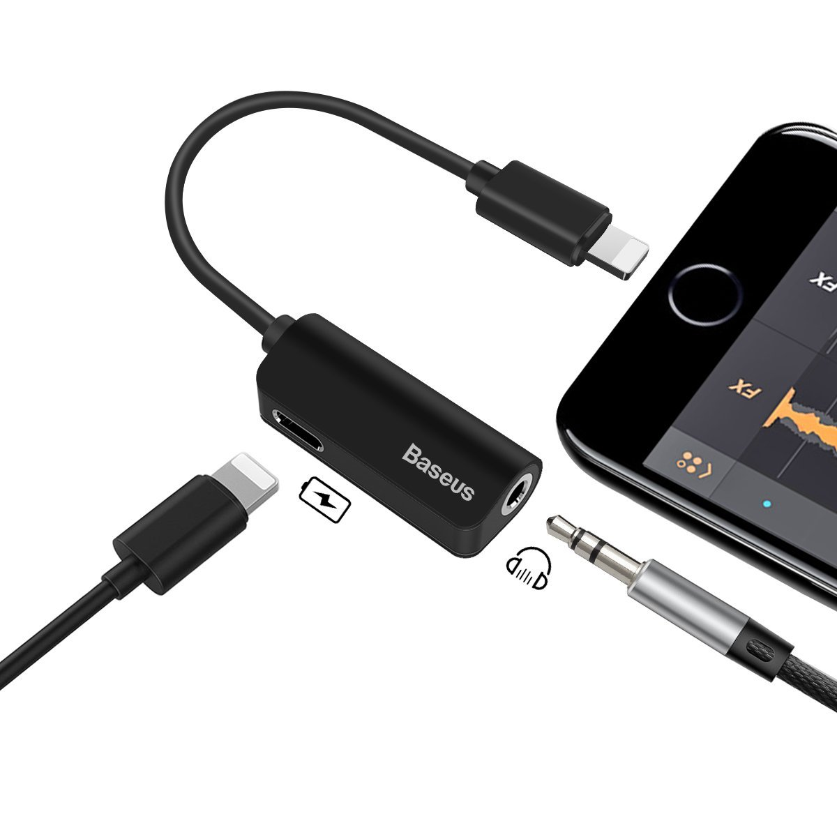 Iphone X 7 8 Plus Baseus 2 In 1 Lightning Audio Adapter Splitter Music Series Cable Black For Charging