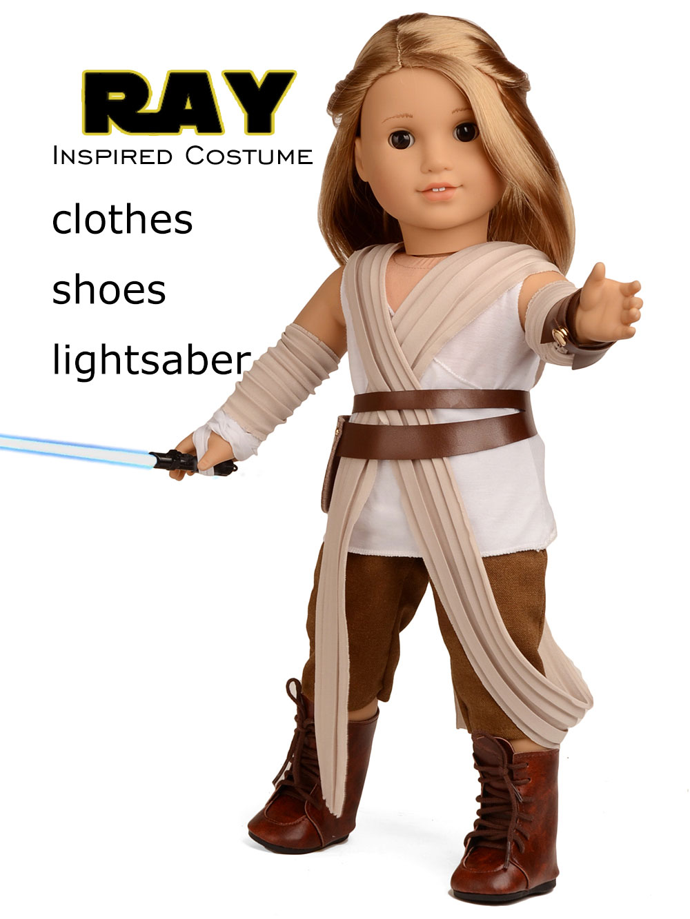 "For 18/"" American Girl Doll Clothes Galactic Warrior Rey Costume Halloween"