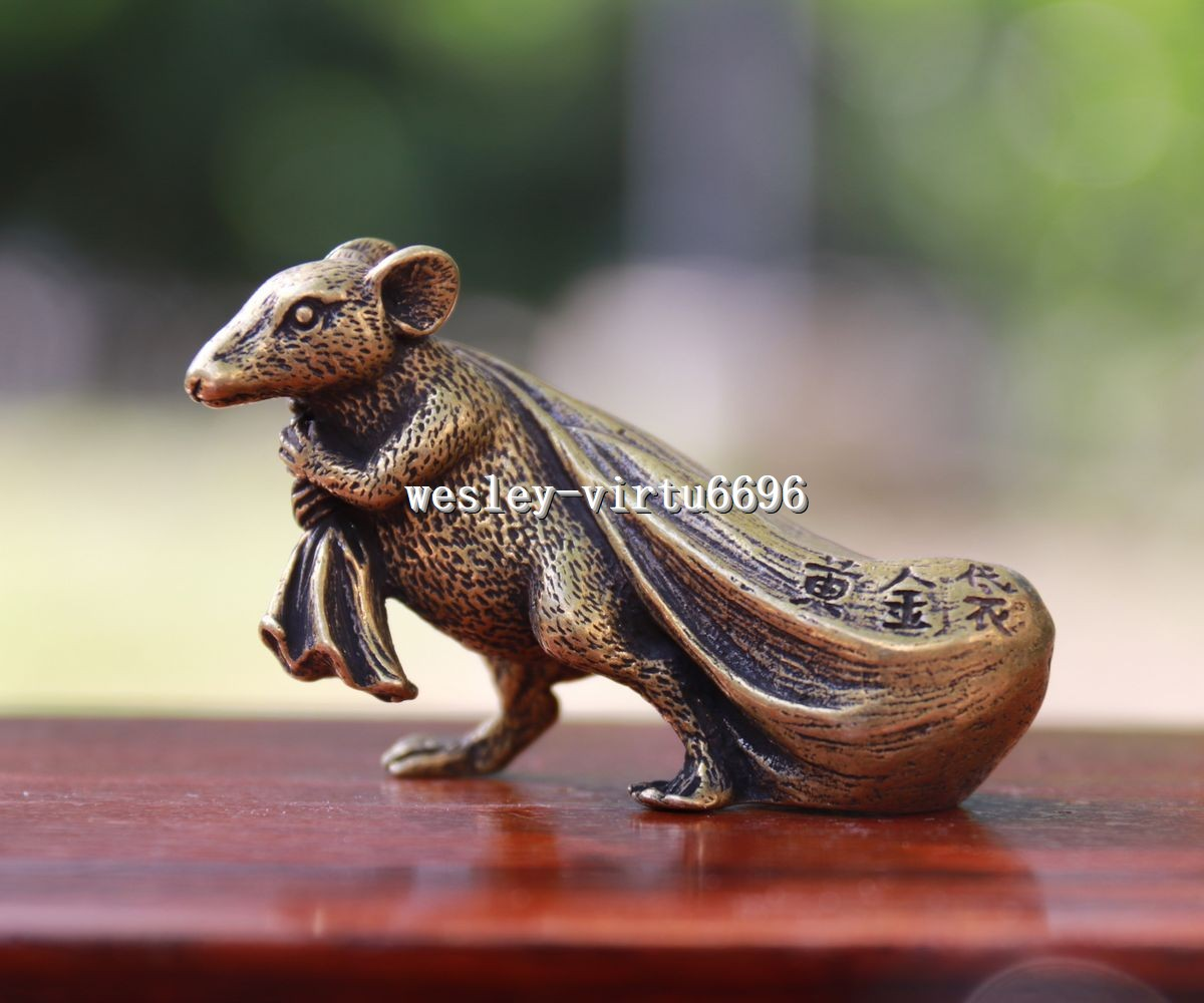 6 CM Pure Bronze Chinese Zodiac Animal Mouse Bring Wealth Sack Amulet sculpture