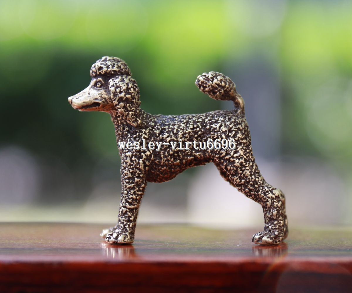 4 cm Chinese Pure Bronze Copper Zodiac Year Animal Wolfhound Dog Statue