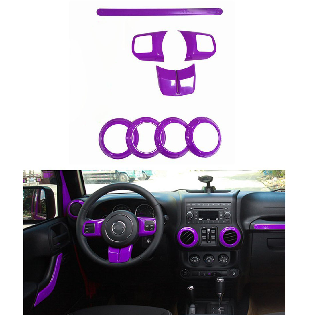 Purple Inner Accessories Frame Cover Trim 8pc For Jeep