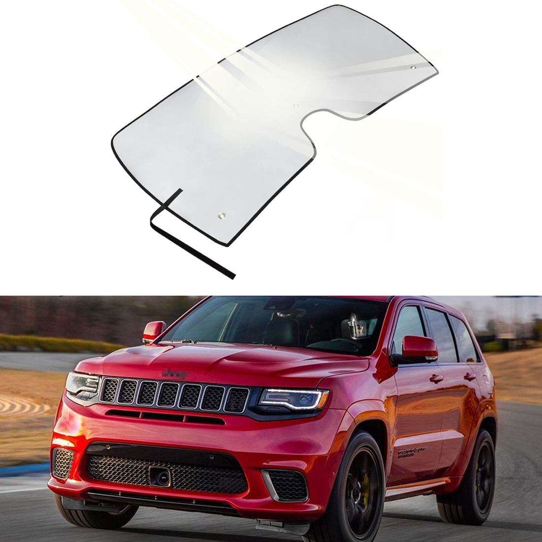 Car Windshield Sun Shade Blocks UV Rays Sun Visor Protector Automotive Reflective Folding Window/Sunshade Compatible for Jeep Grand Cherokee SUV 2011-2018