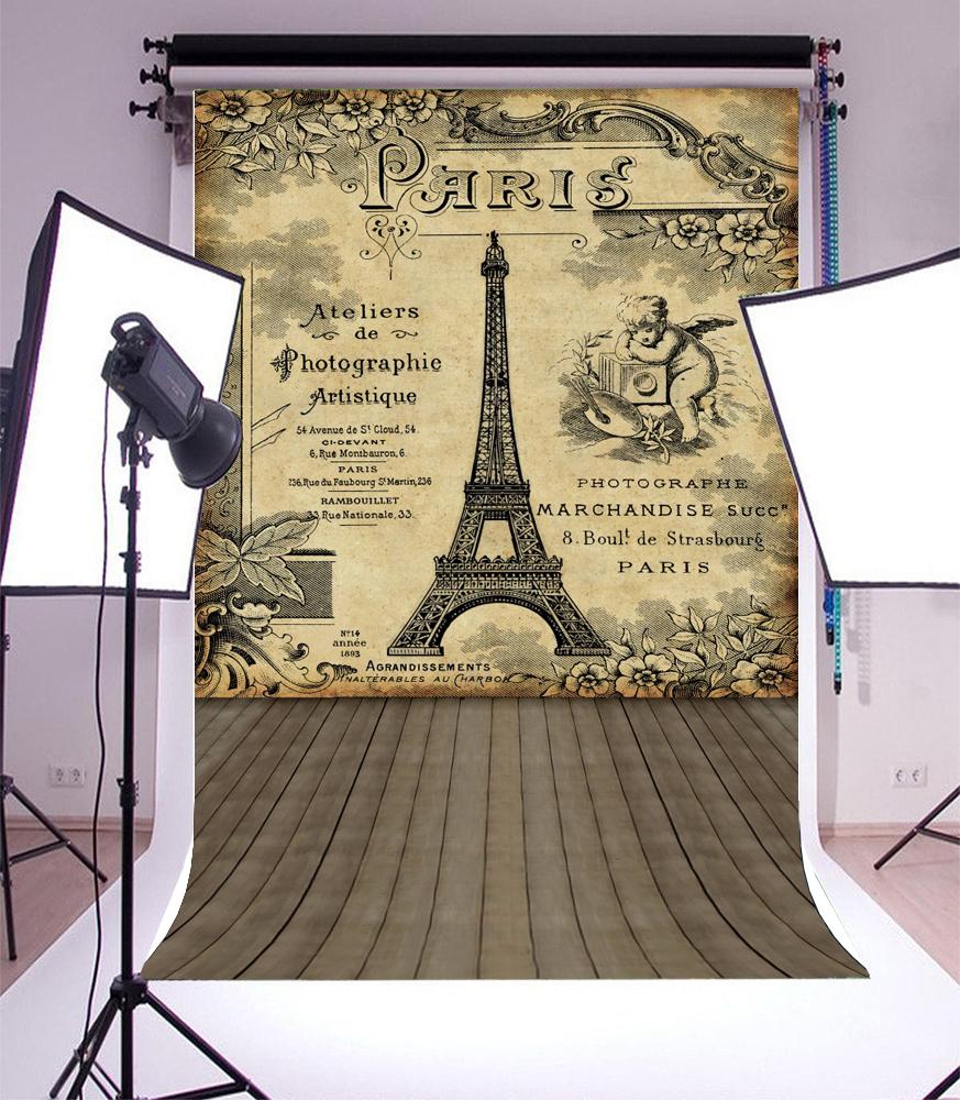 Eiffel Tower Print Wall Photography Background 5x7ft Vinyl Backdrop ...
