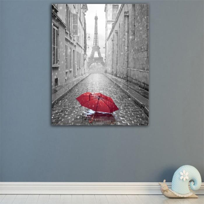 Paris Old Street Rain Day Canvas Oil Painting Modern Home