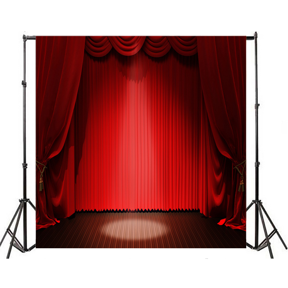 8x8ft Red Curtain Backdrop Light Stage Background Vinyl Photography Studio Prop