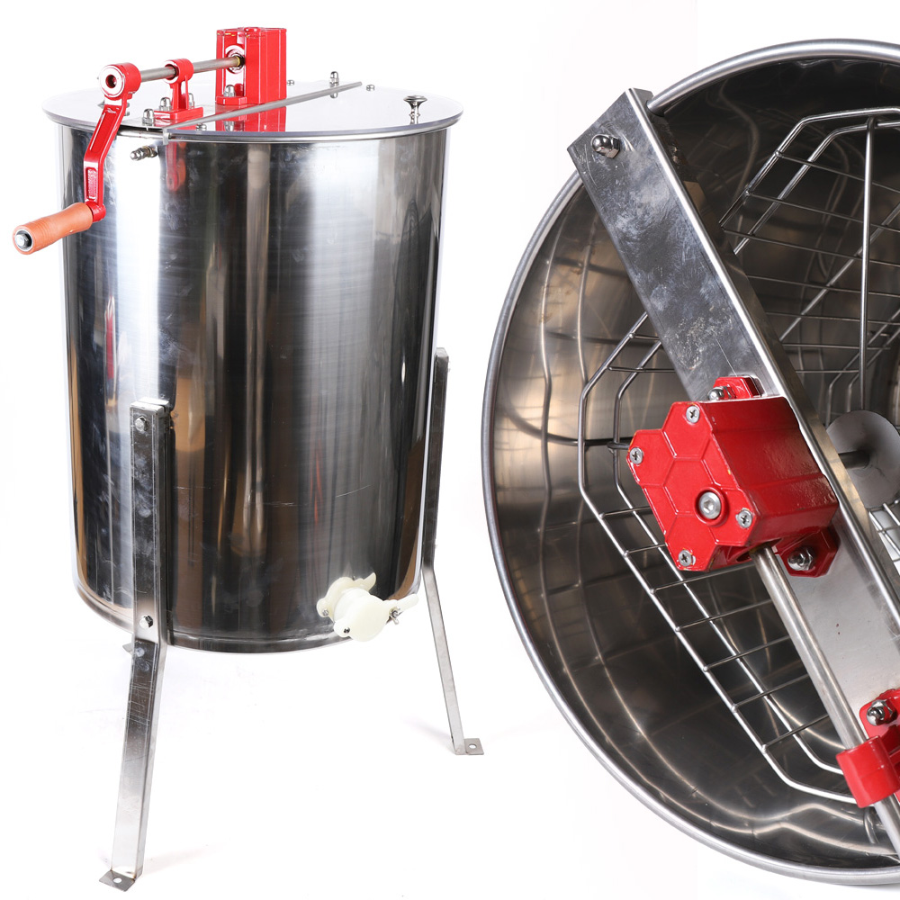 Extracteur de miel manuel 4 cadres en acier inoxydable apiculture