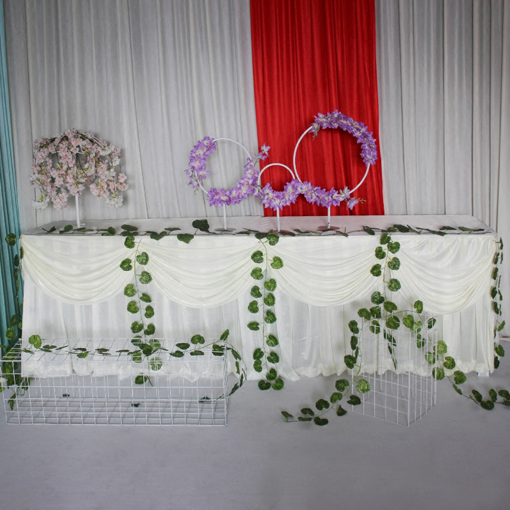 Luxury Table Skirts Pure White Ice Silk Tablecloth Wedding/&Birthday Party Decor