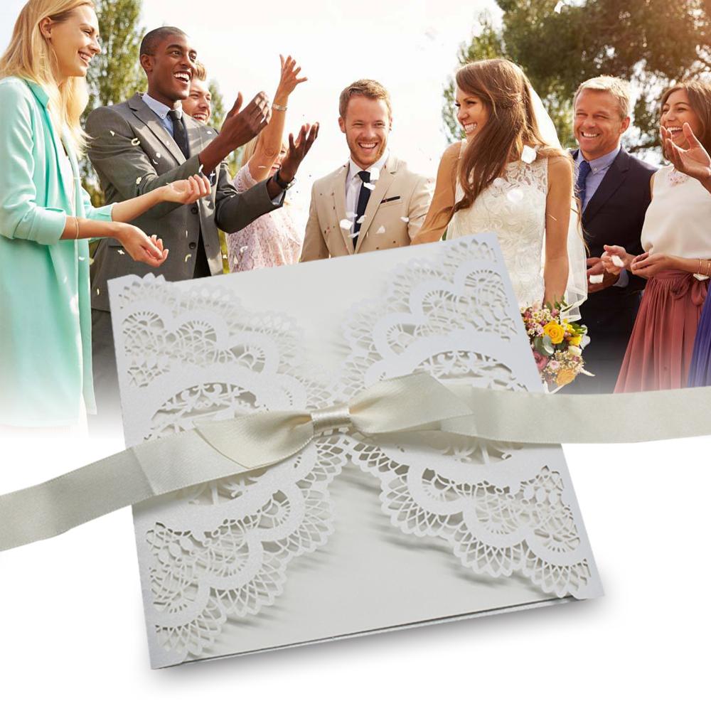 50 cartes invitation faire-part mariage carte voeux dentelle ruban enveloppe
