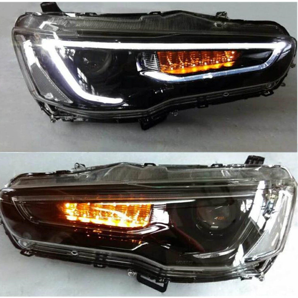 LED Blackout Headlights U0026 Smoked Tail Lights For Mitsubishi Lancer / EVO X  08 17