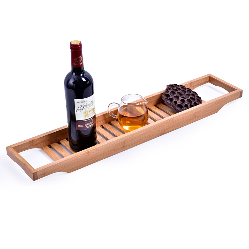 new bamboo bathtub rack bath tray shelf shower tub book holder bathroom shelves - Bathroom Tray