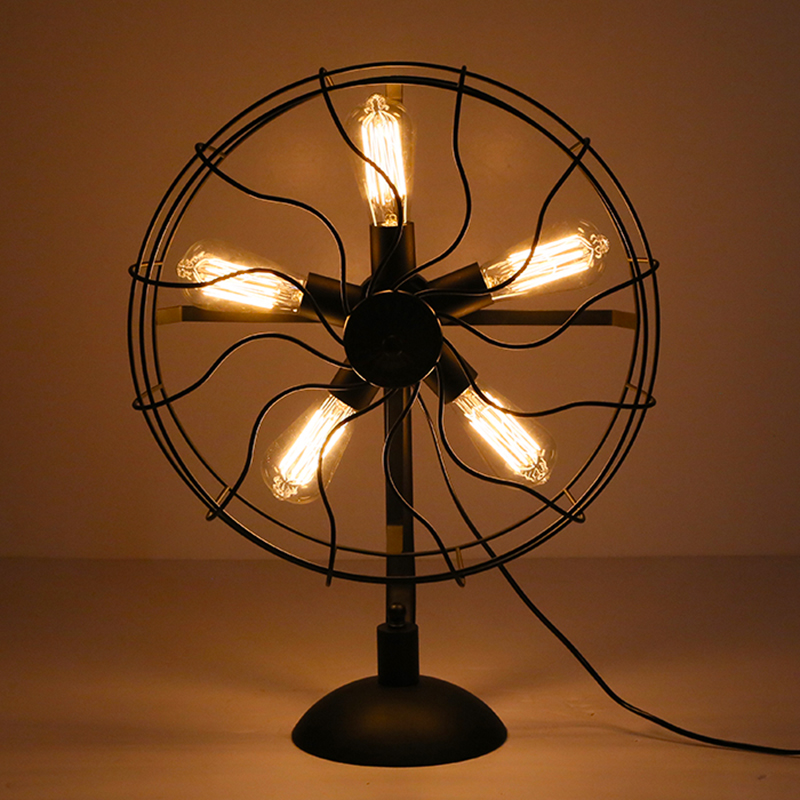 Antique Steampunk Fan Style Desk Lamp Warm Light Vintage Bulb Holder Black