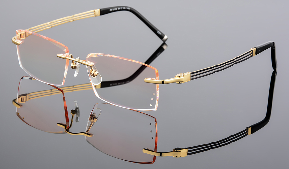 6b5d98c1af91 Details about Men s Reading Glasses Rimless Cutting Lens with Rhinestone  Eyewear Titanium Gold