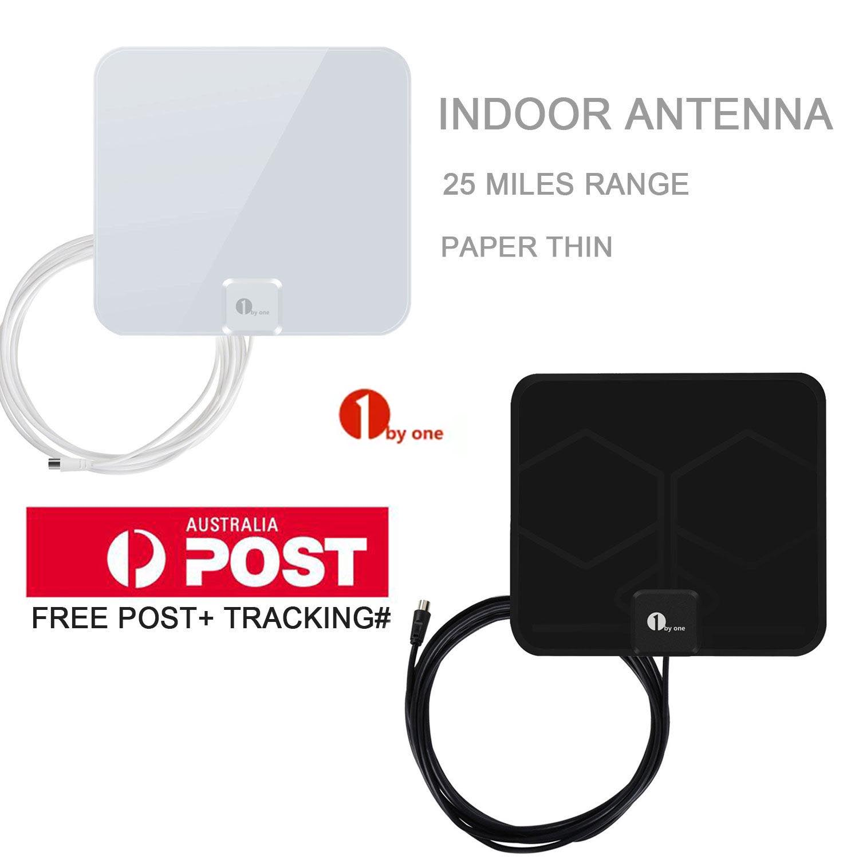 HDTV 1080P Indoor Digital Antenna 40 Miles HD TV UHF VHF FM Black or White