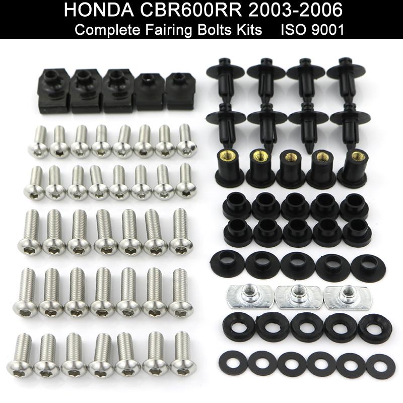 NEW Motorcycle Complete Fairing Bolt Kit Body Screws For Honda CBR600RR 05-06
