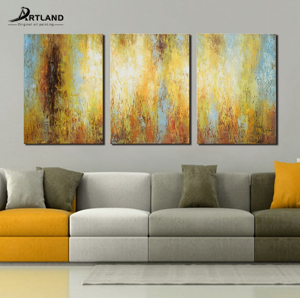 Details About Abstract Oil Painting On Canvas Wall Art Set Hand Paint Frame 3 Piece 24x48