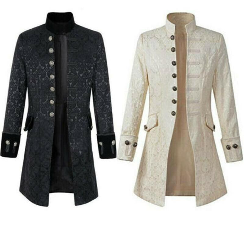 Details zu Steampunk Mittelalter Renaissance Herren Langarm Mantel Jacke Retro Uniform Kost