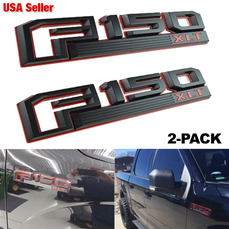 2 NEW CUSTOM 2015-2017 BLACK F150 LIMITED FENDER EMBLEMS PAIR SET