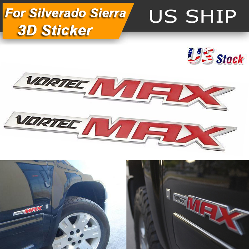 Nameplates Badge Band Decal Replacement for Chevrolet 06-09 Silverado Sierra SS 6.0 Gm Truck 6.0 Liter Chrome red 2 Pcs Vortec Max Door Emblem Logo