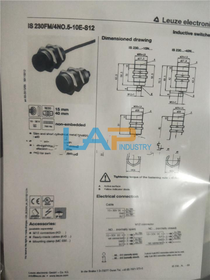 Details about 1PC NEW For LEUZE Proximity Switch IS 230FM 4NO 5-10E-S12