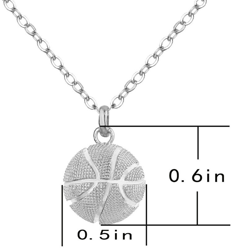 """Men/'s Hip Hop Gold//Silver Plated 3D Basketball Pendant 21.6/"""" Chain Necklace"""