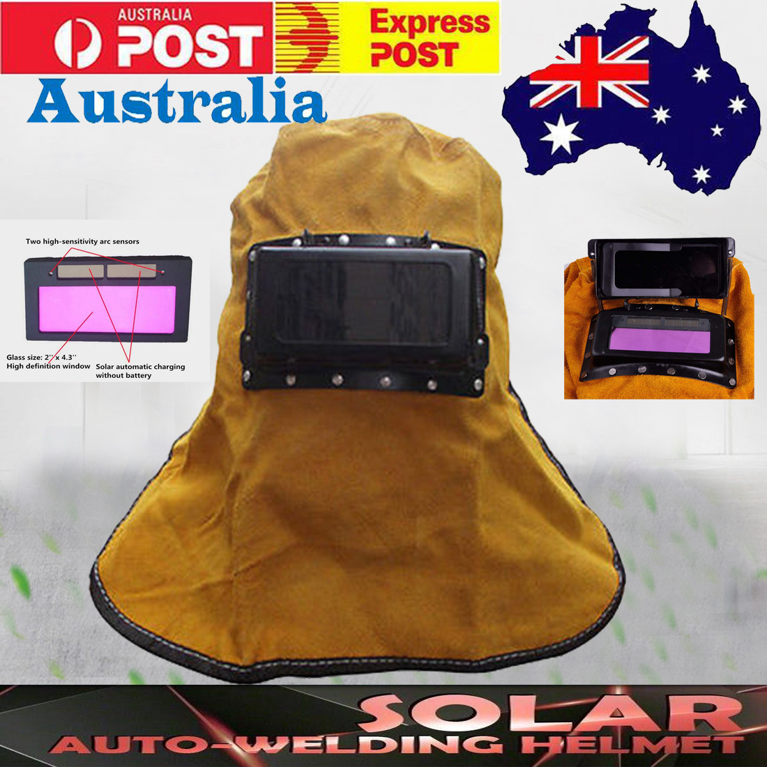 Solar Filter Auto Darkening Lens Leather Hood Welding Helmet Mask