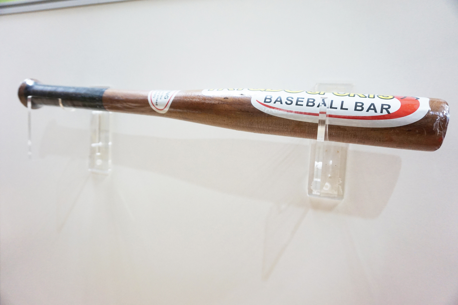 Single Baseball Bat Display Decorative Holder Wall Mount Rack Acrylic Finish