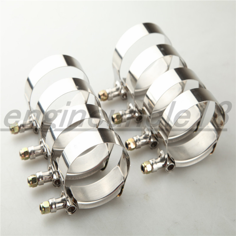 """8PCS 2.25/"""" Turbo Hose Coupler T-bolt Clamps Clamp Stainless Steel 60-68MM US"""