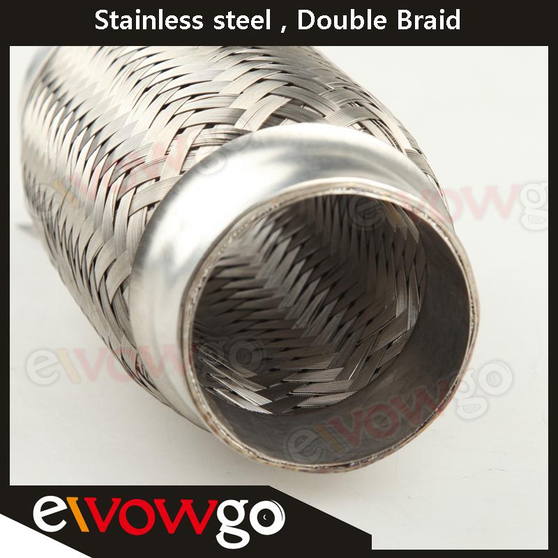 """Exhaust Flex Pipe 2.5/"""" 203MM OL Heavy Duty Stainless Steel Interlock x 8/"""" 63MM"""