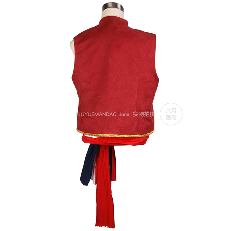Musical Les Miserables Enjolras Red Vest Sash Uniform Cosplay Costume Halloween