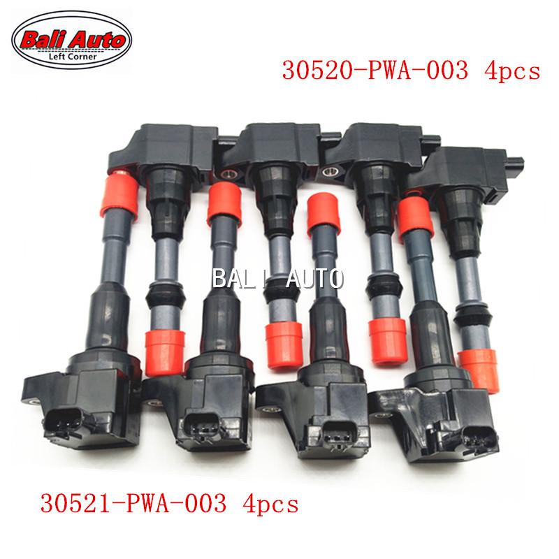 4pcs High quality Lgnition Coil 30521-PWA-003 For Honda FIT//CITY// Jazz 1.3L