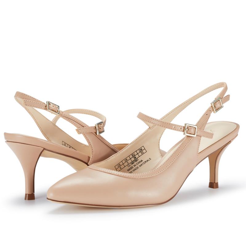 JENN ARDOR Women Low Kitten Heels Stiletto Shoes Pointed Toe Party Pumps Nude PU