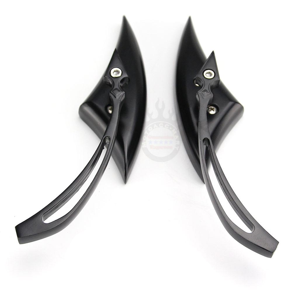 BLACK Spear BLADE Side Rear View Mirrors for Harley Chopper Bobber Custom Cafe
