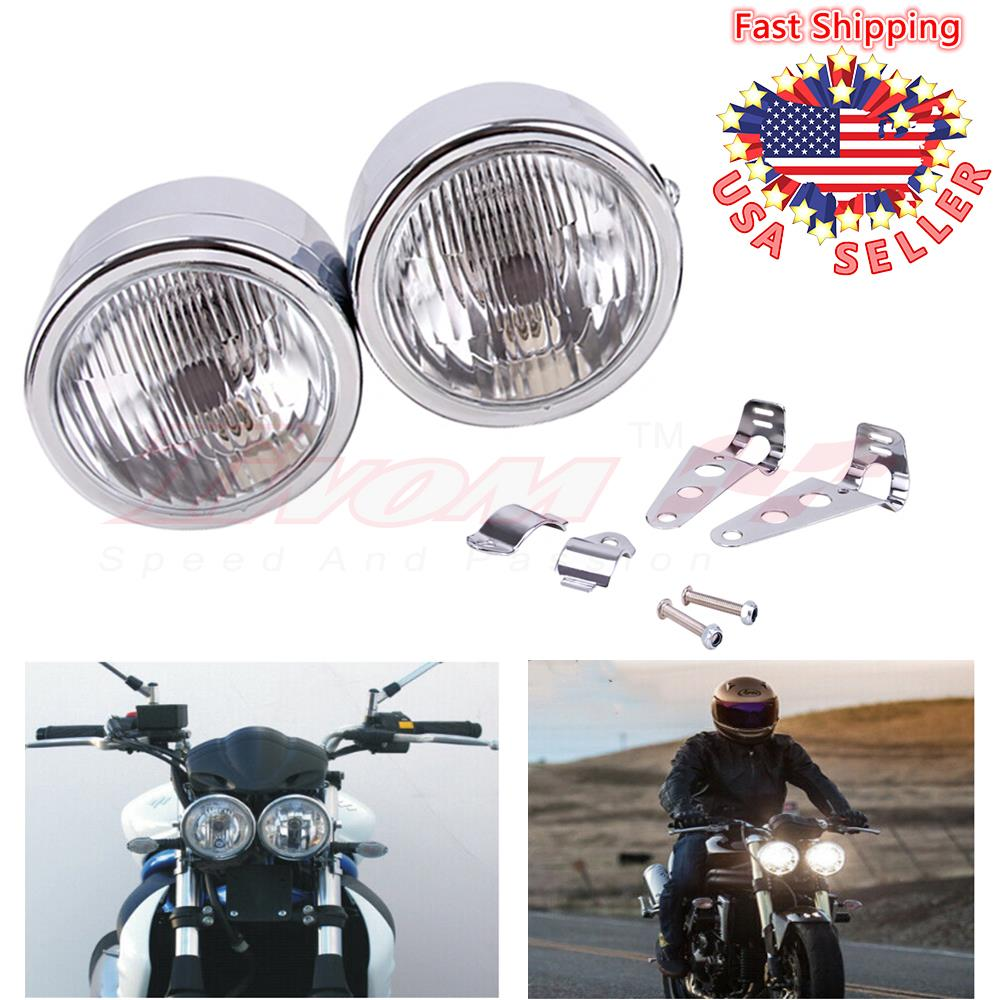 Chrome 4.5 Twin Headlight Motorcycle Double Dual Lamp