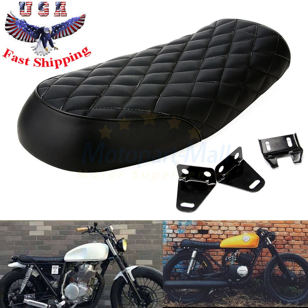 Black Hump Saddle Cafe Racer Vintage Seat Cushion For Honda CB CL Suzuki GS