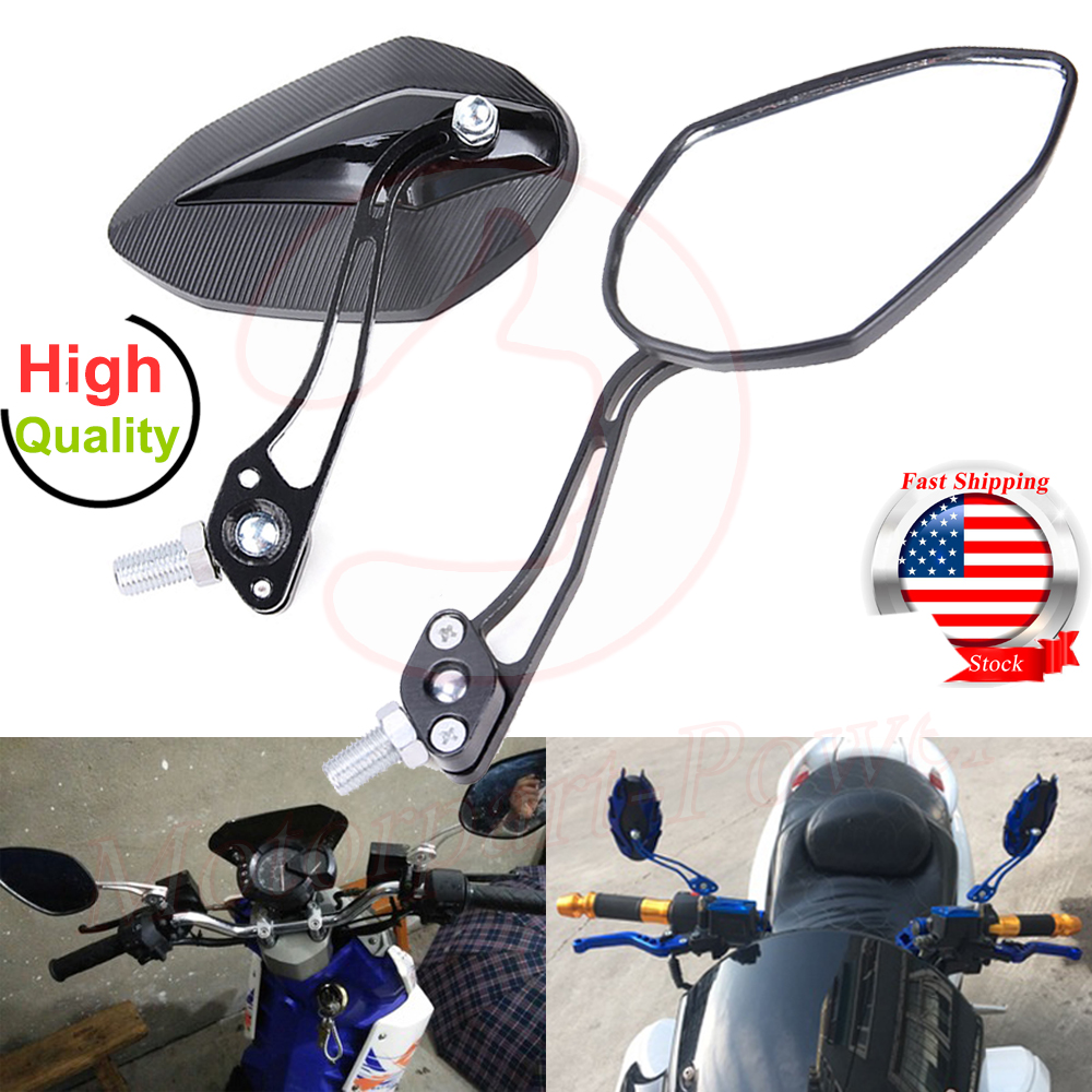 1Pair Universal Motorcycle Rear View Round Mirrors Scooter 8//10mm Street Bikes