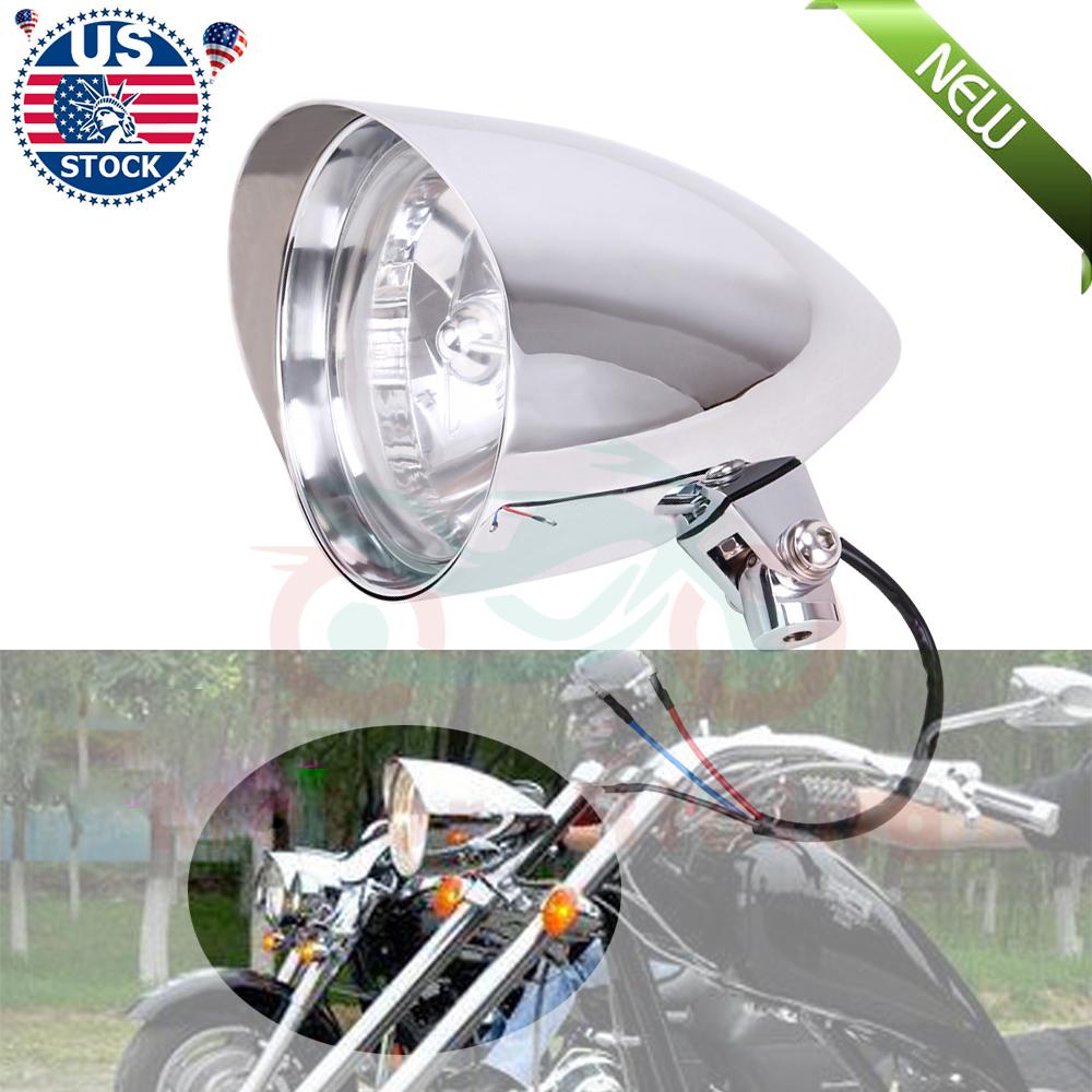 Chrome Custom Blue Tint Lens 5 ¾ Headlight Harley Softail Dyna Sportster Choppe