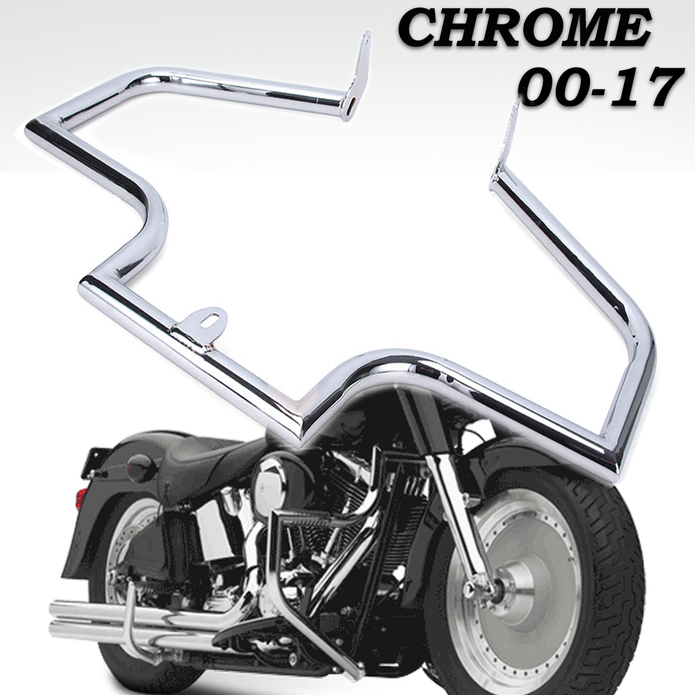 Softail Fat Boy Heritage Mustache Engine Guard Crash Bar For Harley Softail Slim FLS 2000-2017 chromed