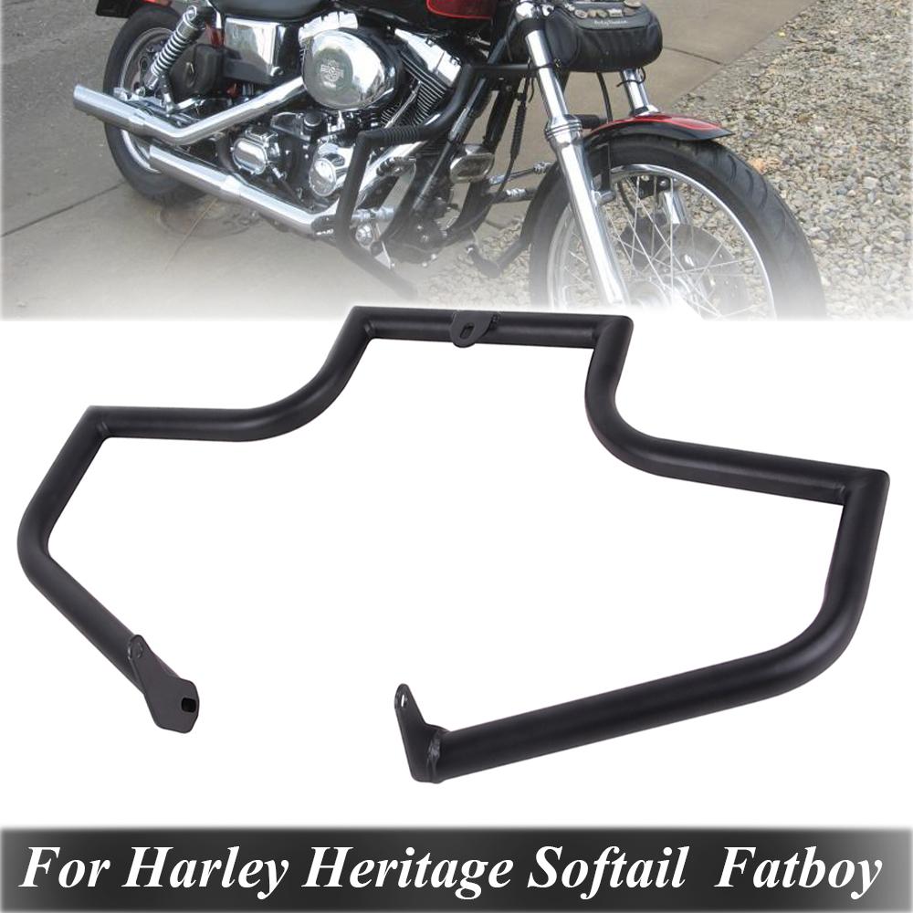 Gloss Black Mustache Engine Guard SOFTAIL Fat Boy FLSTF Harley Crash Bar 00-17