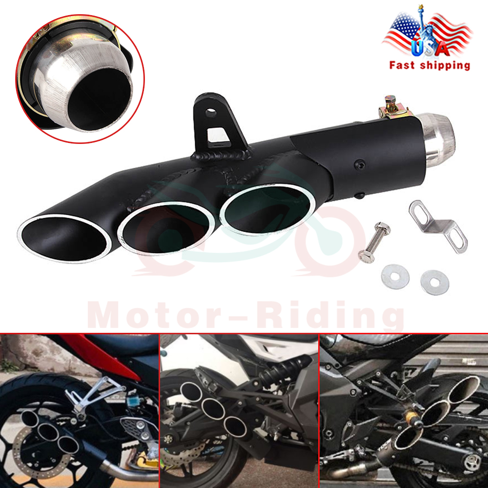 Motorcycle Exhaust Pipe Three-outlet Tail Pipe Exhaust System 38-51 mm Stainless