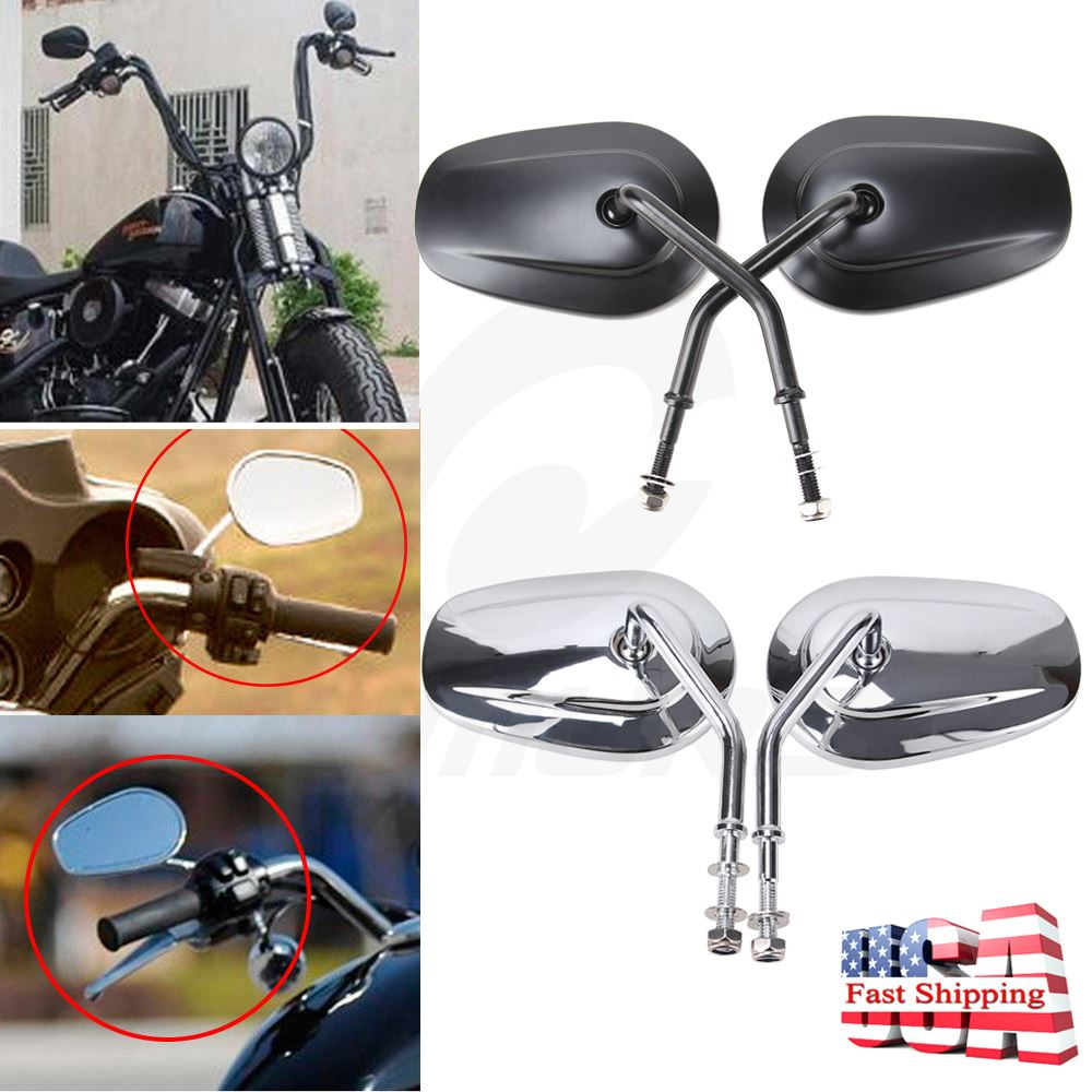 Aluminum Oval Rearview Side Mirror For Harley Dyna Electra Glide Softail Classic